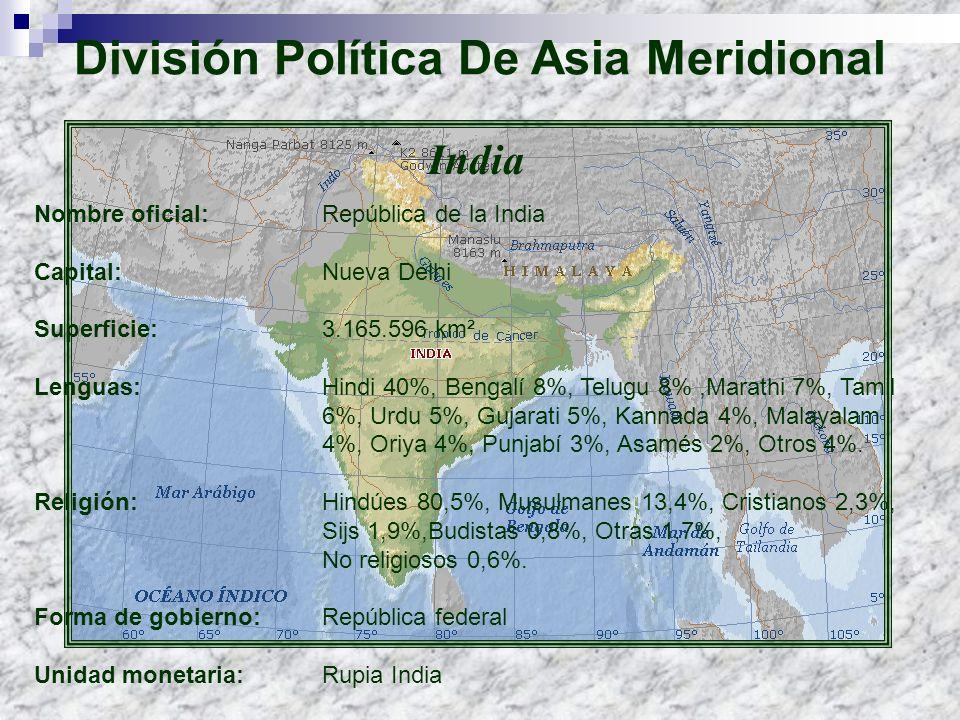 India Nombre oficial: República de la India Capital: Nueva Delhi Superficie:3.165.596 km² Lenguas: Hindi 40%, Bengalí 8%, Telugu 8%,Marathi 7%, Tamil