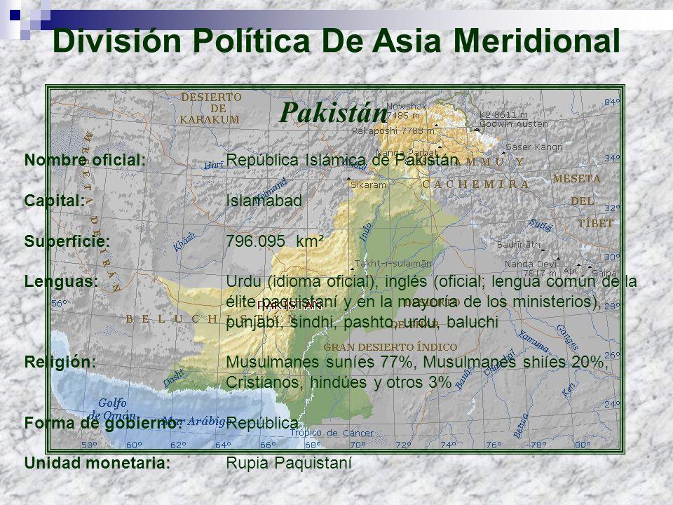 Pakistán Nombre oficial: República Islámica de Pakistán Capital: Islamabad Superficie: 796.095 km² Lenguas: Urdu (idioma oficial), inglés (oficial; le