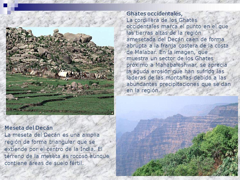 Meseta del Decán La meseta del Decán es una amplia región de forma triangular que se extiende por el centro de la India. El terreno de la meseta es ro
