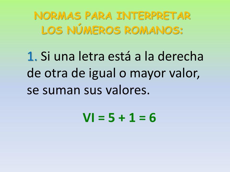 Estos son los números romanos y sus valores: II II = 1 VV VV = 5 XX XX = 10 LL LL = 50 CC CC = 100 DD DD = 500 MM MM = 1.000