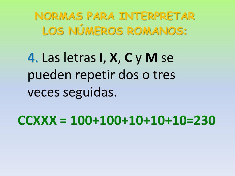 NORMAS PARA INTERPRETAR LOS NÚMEROS ROMANOS : 3.