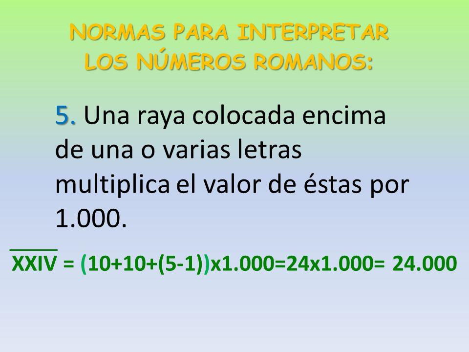 NORMAS PARA INTERPRETAR LOS NÚMEROS ROMANOS : 4.