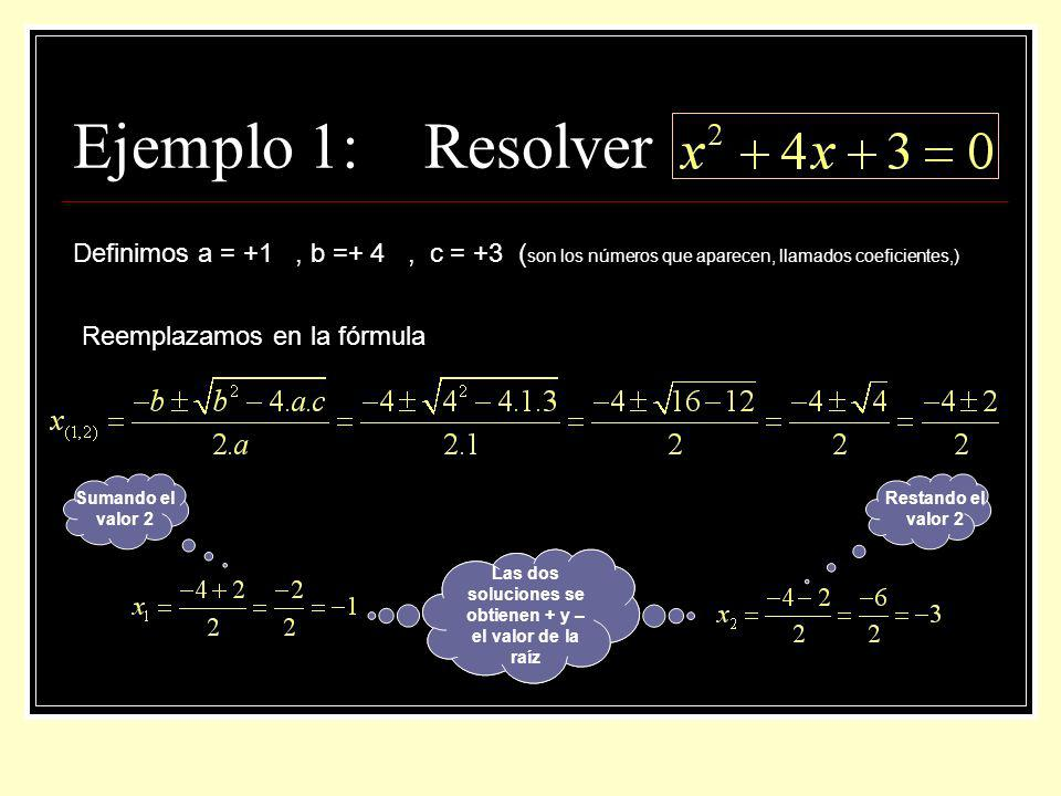 Ejemplo 1: Resolver Definimos a = +1, b =+ 4, c = +3 ( son los números que aparecen, llamados coeficientes,) Reemplazamos en la fórmula Las dos soluci