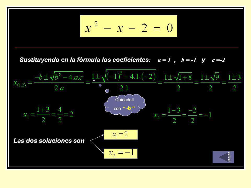 Sustituyendo en la fórmula los coeficientes: a = 1, b = -1 y c =-2 Las dos soluciones son Cuidado!! con -b volver