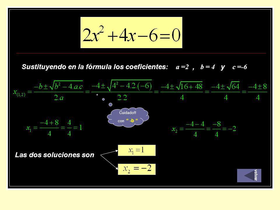 Sustituyendo en la fórmula los coeficientes: a =2, b = 4 y c =-6 Las dos soluciones son Cuidado!! con -b volver