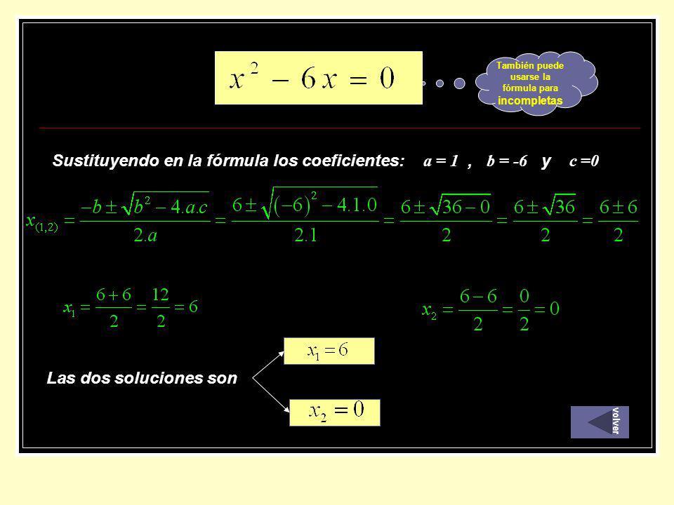 Sustituyendo en la fórmula los coeficientes: a = 1, b = -6 y c =0 Las dos soluciones son También puede usarse la fórmula para incompletas volver
