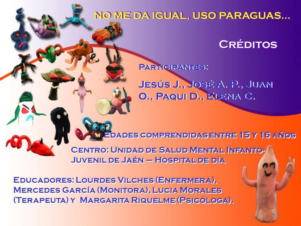 NO ME DA IGUAL, USO PARAGUAS... Créditos Participantes: Jesús J., José A. P., Juan O., Paqui D., Elena C. Participantes: Jesús J., José A. P., Juan O.
