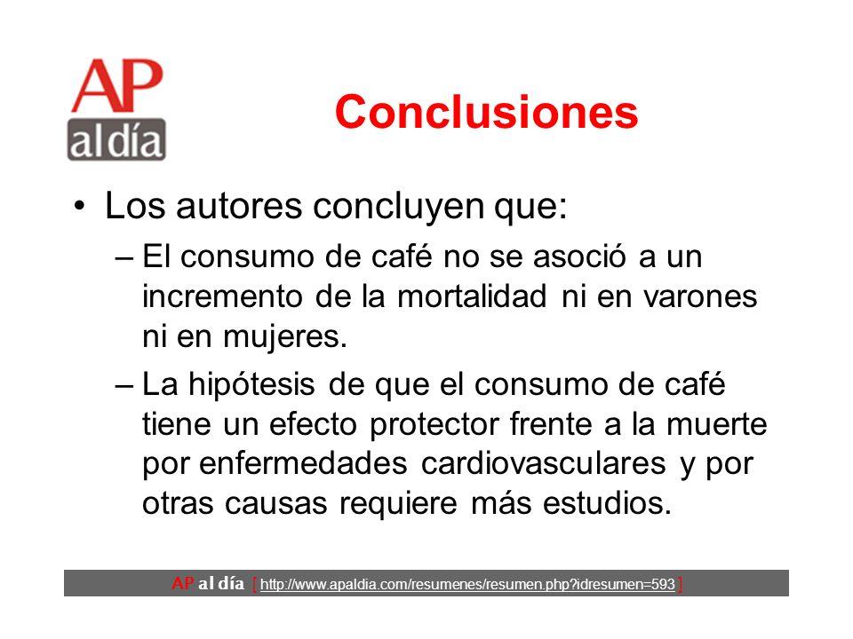 AP al día [ http://www.apaldia.com/resumenes/resumen.php idresumen=593 ] Resultados (4) No se encontró ninguna relación entre el consumo de café y la mortalidad por cáncer.