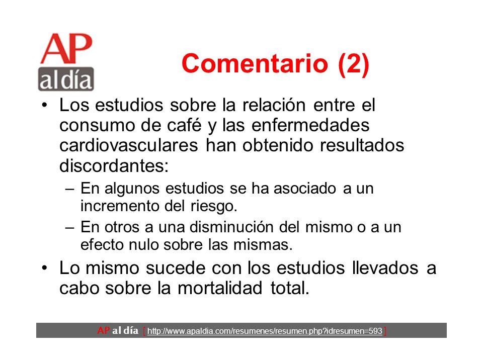 AP al día [ http://www.apaldia.com/resumenes/resumen.php idresumen=593 ] Comentario (1) El café es un producto de consumo habitual en los países occidentales que en el imaginario popular tiene unos efectos negativos sobre la salud.
