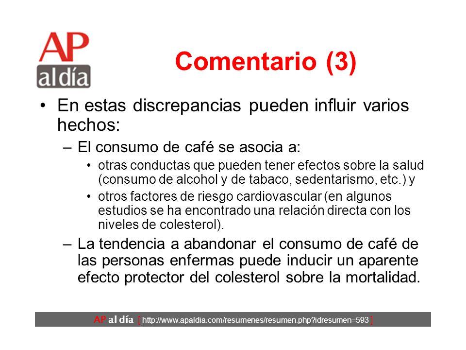 AP al día [ http://www.apaldia.com/resumenes/resumen.php?idresumen=593 ] Comentario (2) Los estudios sobre la relación entre el consumo de café y las