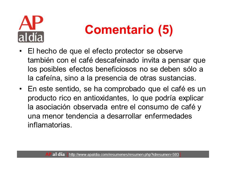 AP al día [ http://www.apaldia.com/resumenes/resumen.php idresumen=593 ] Comentario (4) En este estudio se ha encontrado una relación inversa entre el consumo de café y la mortalidad a largo plazo por todas las causas y por enfermedades cardiovasculares.