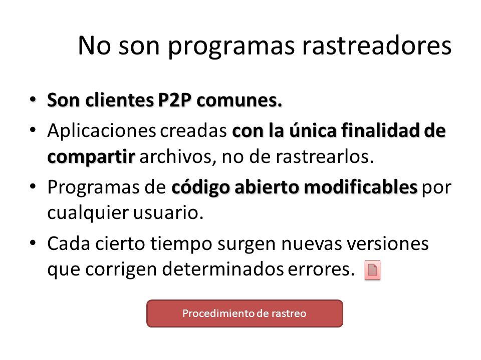 No son programas rastreadores Son clientes P2P comunes. Son clientes P2P comunes. con la única finalidad de compartir Aplicaciones creadas con la únic
