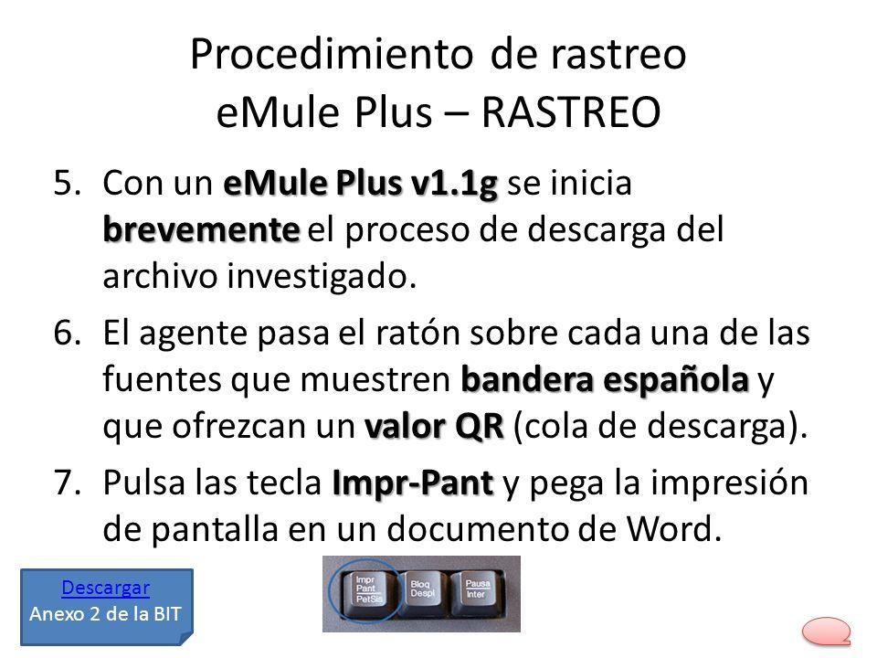 Procedimiento de rastreo eMule Plus – RASTREO eMule Plus v1.1g brevemente 5.Con un eMule Plus v1.1g se inicia brevemente el proceso de descarga del ar
