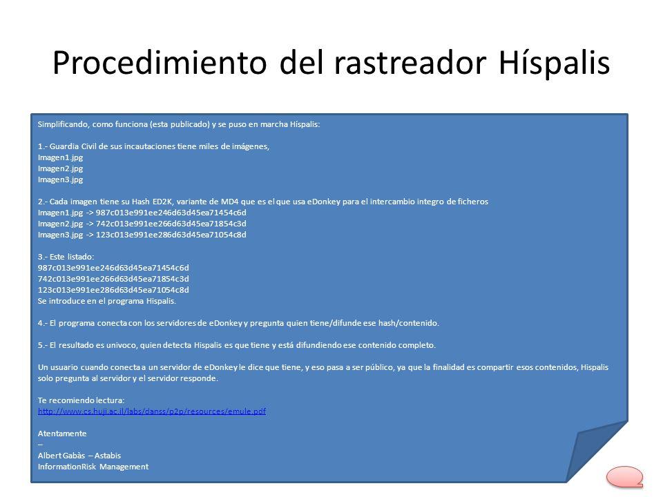 Procedimiento del rastreador Híspalis Simplificando, como funciona (esta publicado) y se puso en marcha Híspalis: 1.- Guardia Civil de sus incautacion