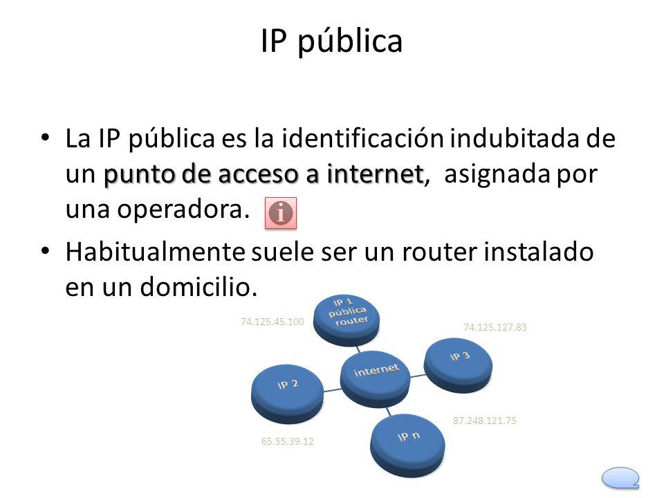 IP pública punto de acceso a internet La IP pública es la identificación indubitada de un punto de acceso a internet, asignada por una operadora. Habi