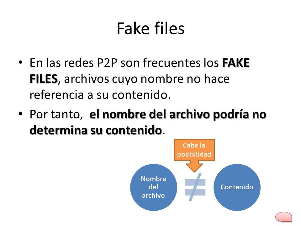Fake files FAKE FILES En las redes P2P son frecuentes los FAKE FILES, archivos cuyo nombre no hace referencia a su contenido. el nombre del archivo po