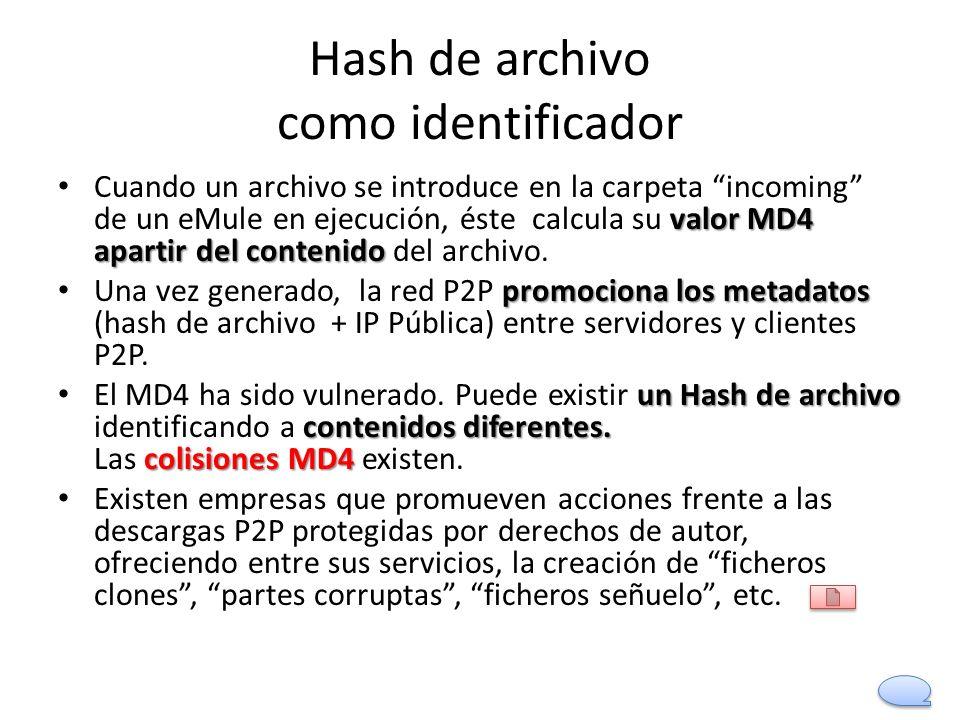 Hash de archivo como identificador valor MD4 apartir del contenido Cuando un archivo se introduce en la carpeta incoming de un eMule en ejecución, ést