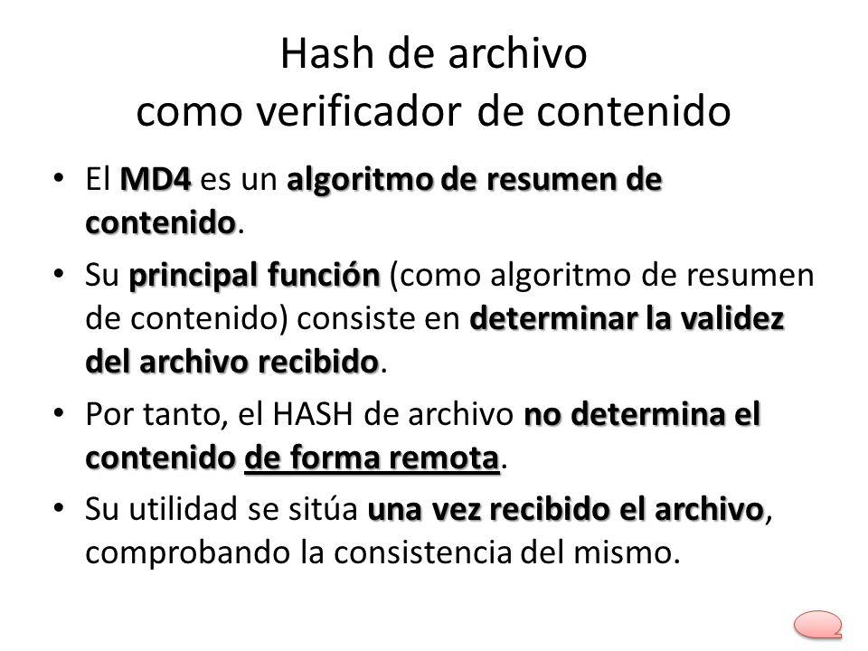 Hash de archivo como verificador de contenido MD4algoritmo de resumen de contenido El MD4 es un algoritmo de resumen de contenido. principal función d