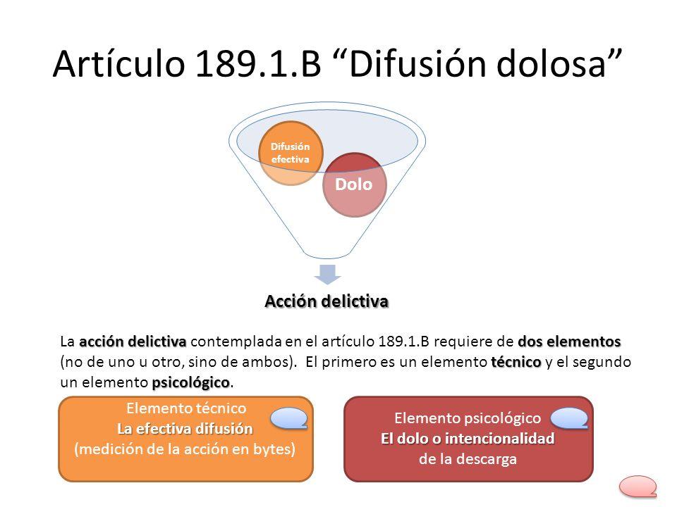 Artículo 189.1.B Difusión dolosa Acción delictiva Dolo Difusión efectiva acción delictiva dos elementos técnico psicológico La acción delictiva contem
