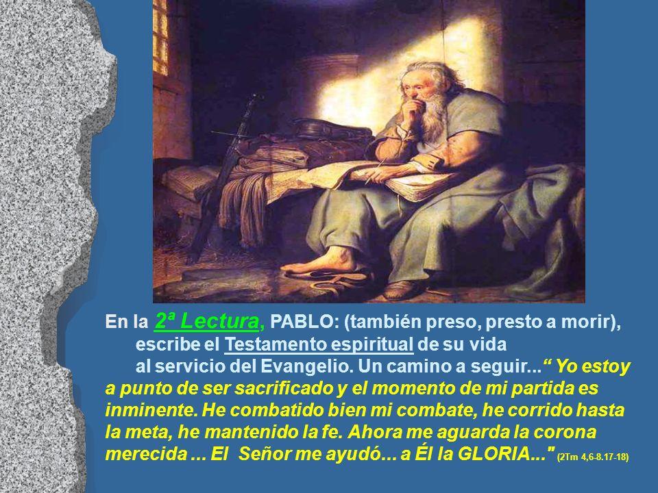 En la 1ª Lectura, aparece PEDRO: preso por las autoridades... para agradar a los judíos... con fecha marcada para morir. (Hch 12,1-11) - Vemos el Test