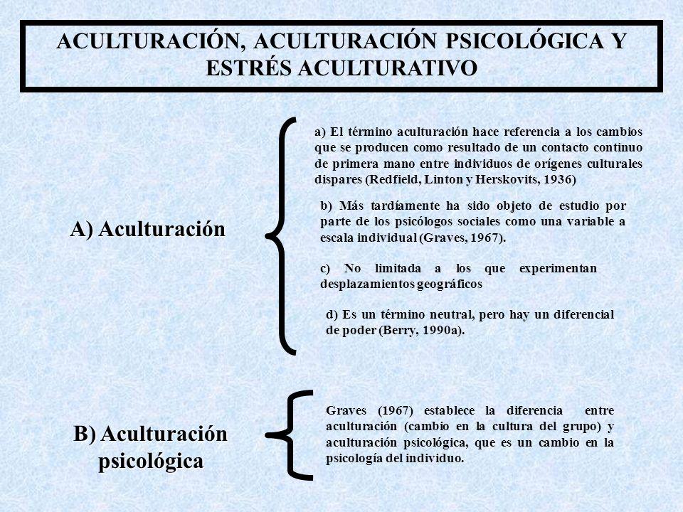 ACULTURACIÓN, ACULTURACIÓN PSICOLÓGICA Y ESTRÉS ACULTURATIVO a) El término aculturación hace referencia a los cambios que se producen como resultado de un contacto continuo de primera mano entre individuos de orígenes culturales dispares (Redfield, Linton y Herskovits, 1936) b) Más tardíamente ha sido objeto de estudio por parte de los psicólogos sociales como una variable a escala individual (Graves, 1967).
