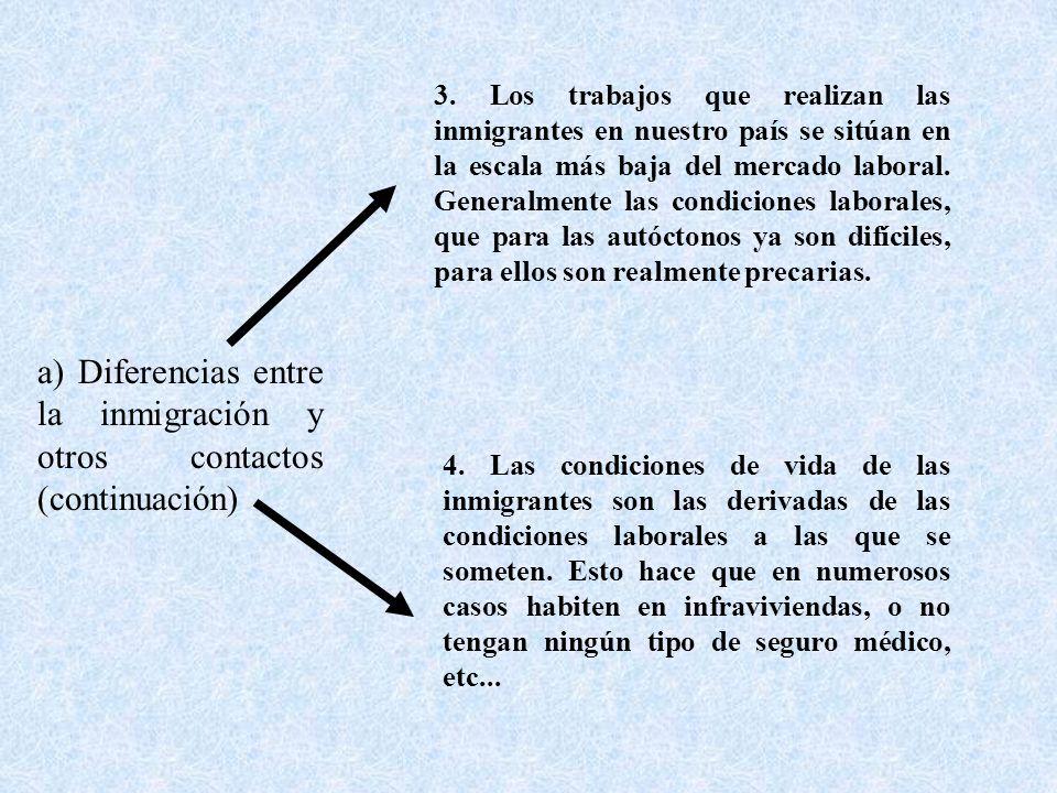 3. Los trabajos que realizan las inmigrantes en nuestro país se sitúan en la escala más baja del mercado laboral. Generalmente las condiciones laboral