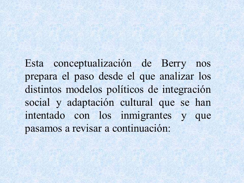 Esta conceptualización de Berry nos prepara el paso desde el que analizar los distintos modelos políticos de integración social y adaptación cultural que se han intentado con los inmigrantes y que pasamos a revisar a continuación: