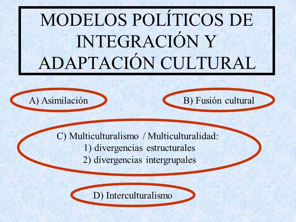 MODELOS POLÍTICOS DE INTEGRACIÓN Y ADAPTACIÓN CULTURAL A) AsimilaciónB) Fusión cultural C) Multiculturalismo / Multiculturalidad: 1) divergencias estructurales 2) divergencias intergrupales D) Interculturalismo