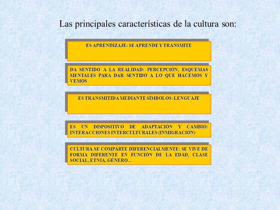 CARACTERÍSTICAS DE LA CULTURA ES APRENDIZAJE: SE APRENDE Y TRANSMITE DA SENTIDO A LA REALIDAD: PERCEPCIÓN, ESQUEMAS MENTALES PARA DAR SENTIDO A LO QUE HACEMOS Y VEMOS ES TRANSMITIDA MEDIANTE SÍMBOLOS: LENGUAJE CULTURA SE COMPARTE DIFERENCIALMENTE: SE VIVE DE FORMA DIFERENTE EN FUNCIÓN DE LA EDAD, CLASE SOCIAL, ETNIA, GÉNERO...