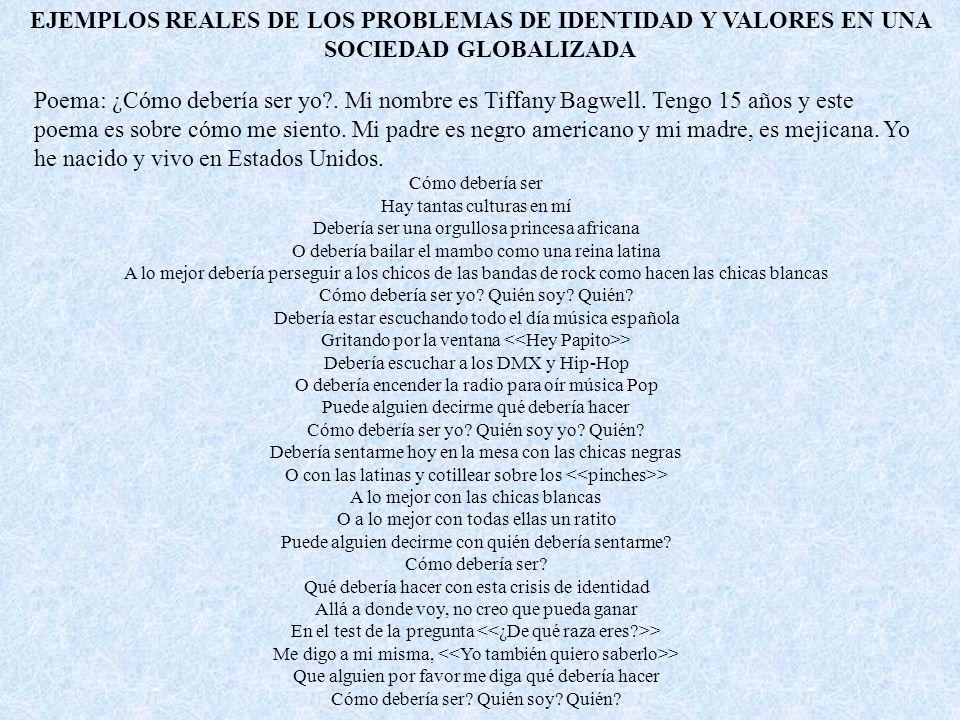 EJEMPLOS REALES DE LOS PROBLEMAS DE IDENTIDAD Y VALORES EN UNA SOCIEDAD GLOBALIZADA Poema: ¿Cómo debería ser yo?.