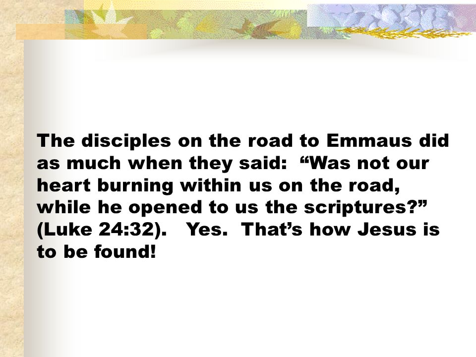 The disciples on the road to Emmaus did as much when they said: Was not our heart burning within us on the road, while he opened to us the scriptures?