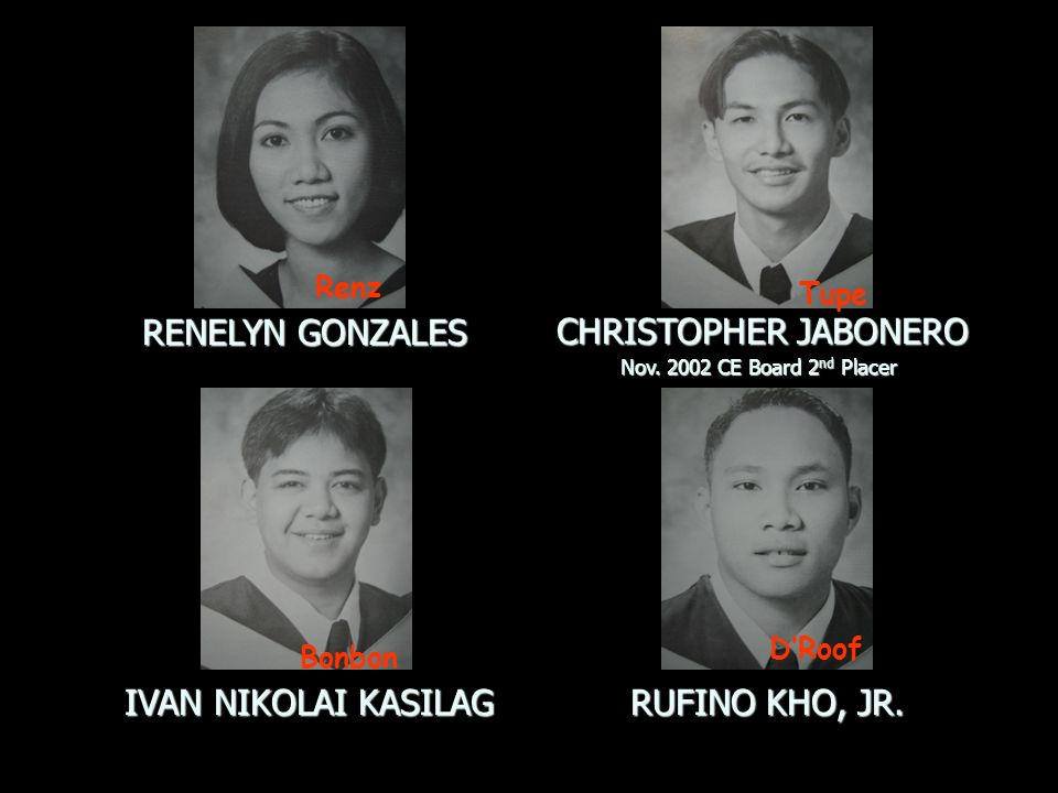 RENELYN GONZALES CHRISTOPHER JABONERO IVAN NIKOLAI KASILAG RUFINO KHO, JR. Nov. 2002 CE Board 2nd Placer Bonbon Renz Tupe DRoof