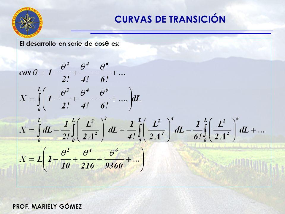 PROF. MARIELY GÓMEZ Del mismo modo, el desarrollo en serie de senθ es: CURVAS DE TRANSICIÓN