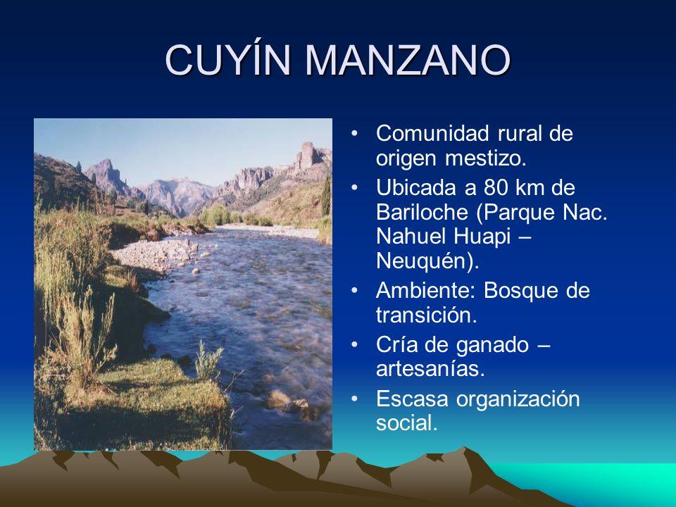 CUYÍN MANZANO Comunidad rural de origen mestizo.Ubicada a 80 km de Bariloche (Parque Nac.