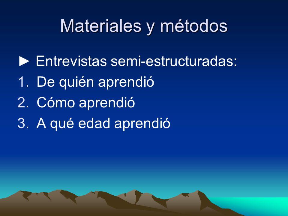 Materiales y métodos Entrevistas semi-estructuradas: 1.De quién aprendió 2.Cómo aprendió 3.A qué edad aprendió