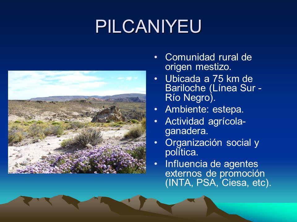 PILCANIYEU Comunidad rural de origen mestizo.Ubicada a 75 km de Bariloche (Línea Sur - Río Negro).