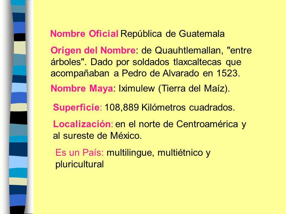 Nombre Oficial República de Guatemala Origen del Nombre: de Quauhtlemallan, entre árboles .