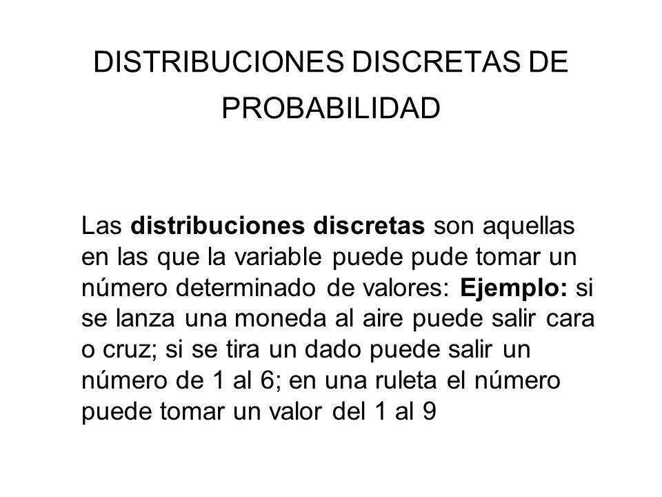 DISTRIBUCIONES DISCRETAS DE PROBABILIDAD Distribuciones discretas: Bernouilli, binomial, Poisson y multivariante. Las distribuciones discretas son aqu