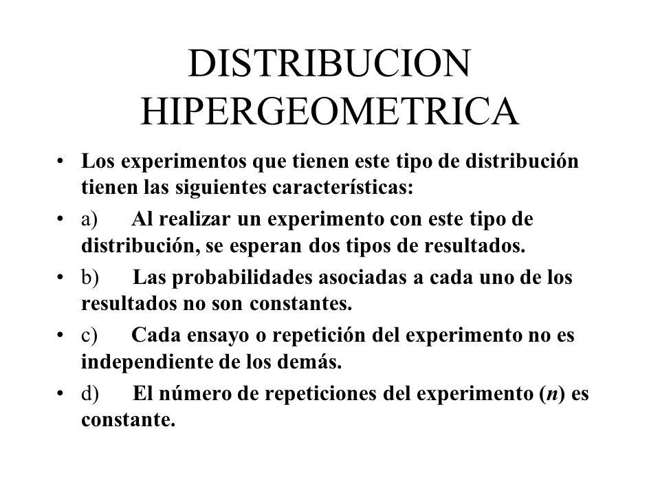 DISTRIBUCION HIPERGEOMETRICA Los experimentos que tienen este tipo de distribución tienen las siguientes características: a) Al realizar un experiment