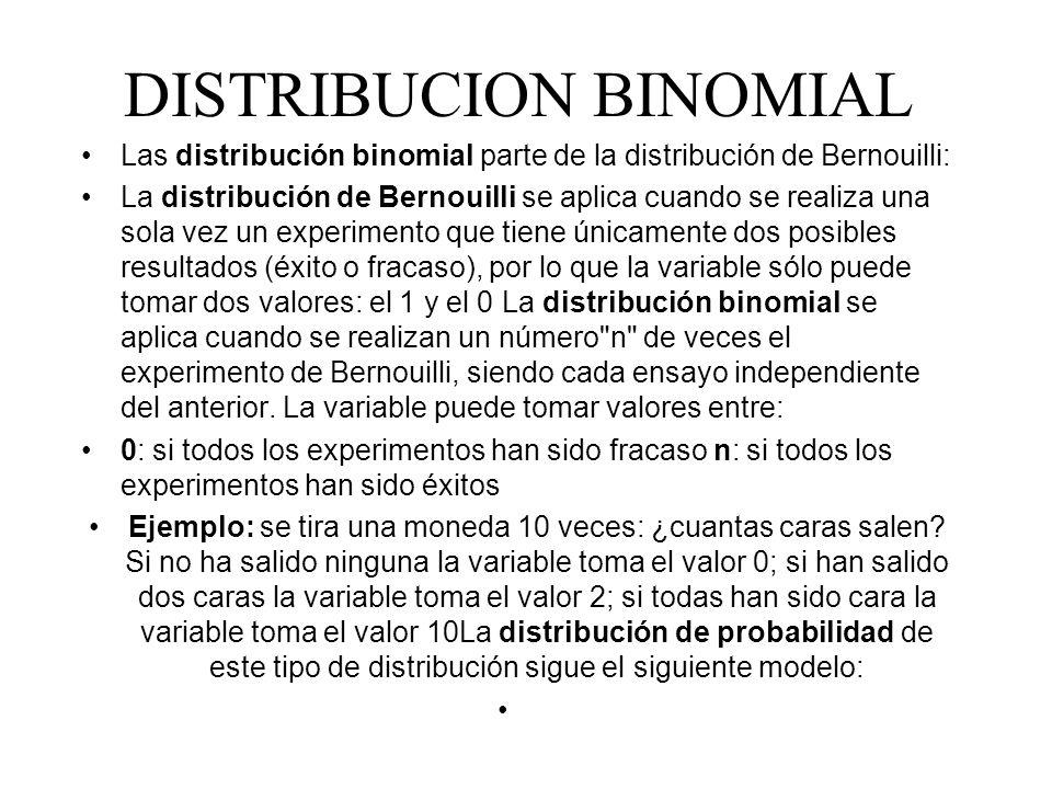 DISTRIBUCION BINOMIAL Las distribución binomial parte de la distribución de Bernouilli: La distribución de Bernouilli se aplica cuando se realiza una