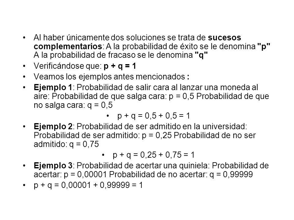 Al haber únicamente dos soluciones se trata de sucesos complementarios: A la probabilidad de éxito se le denomina