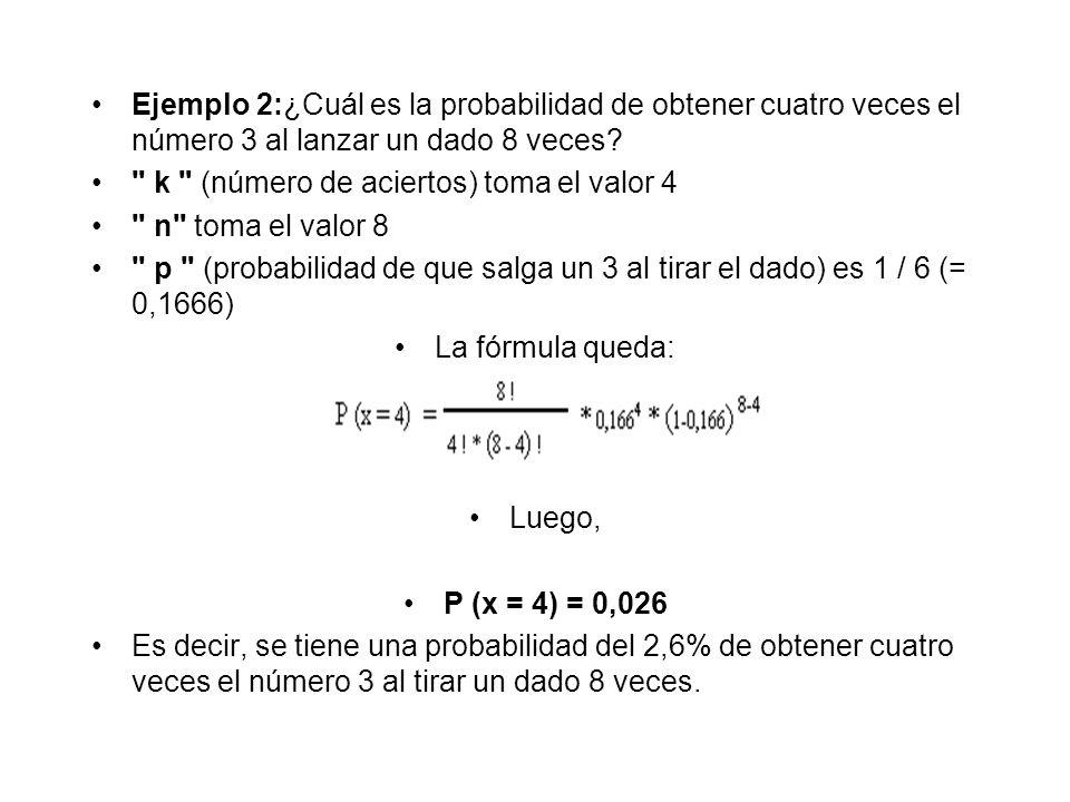 Ejemplo 2:¿Cuál es la probabilidad de obtener cuatro veces el número 3 al lanzar un dado 8 veces?