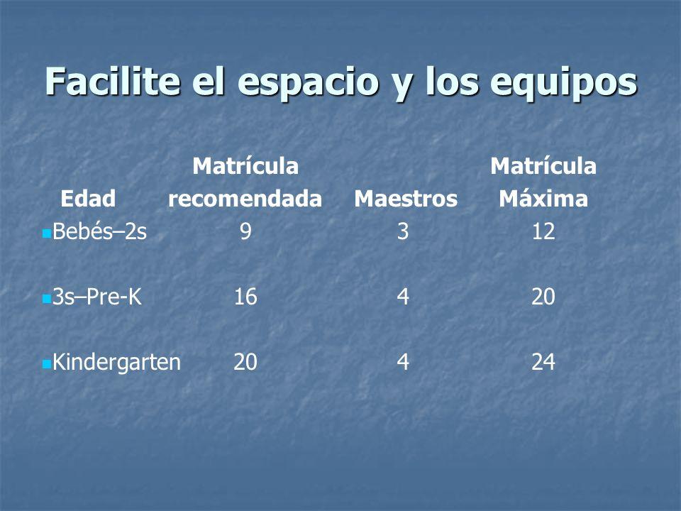 Facilite el espacio y los equipos Matrícula Edadrecomendada MaestrosMáxima Bebés–2s9312 3s–Pre-K16420 Kindergarten20424