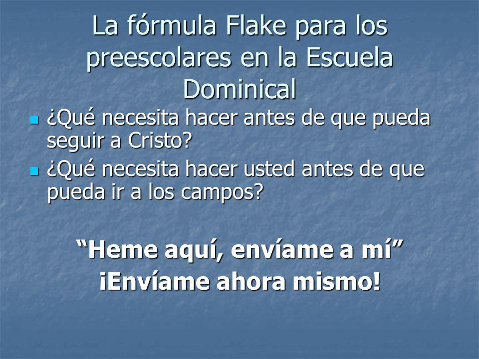 La fórmula Flake para los preescolares en la Escuela Dominical ¿Qué necesita hacer antes de que pueda seguir a Cristo? ¿Qué necesita hacer antes de qu