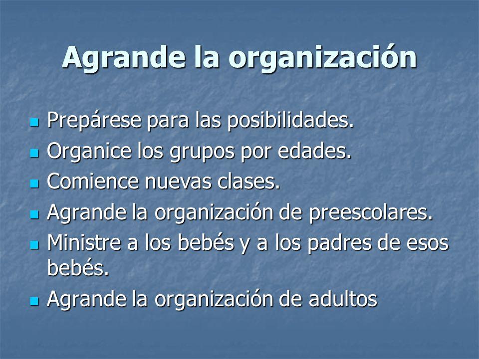 Agrande la organización Prepárese para las posibilidades. Prepárese para las posibilidades. Organice los grupos por edades. Organice los grupos por ed