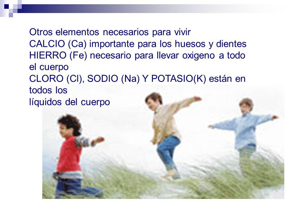 Otros elementos necesarios para vivir CALCIO (Ca) importante para los huesos y dientes HIERRO (Fe) necesario para llevar oxigeno a todo el cuerpo CLOR