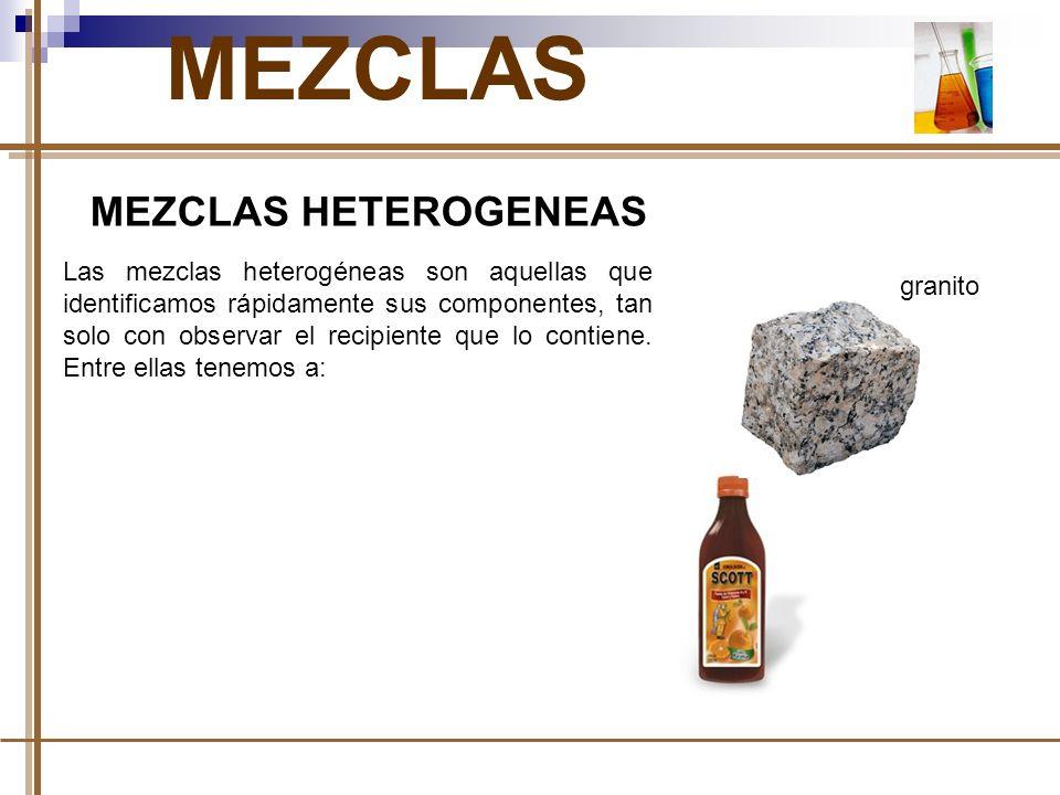 MEZCLAS MEZCLAS HETEROGENEAS Las mezclas heterogéneas son aquellas que identificamos rápidamente sus componentes, tan solo con observar el recipiente que lo contiene.