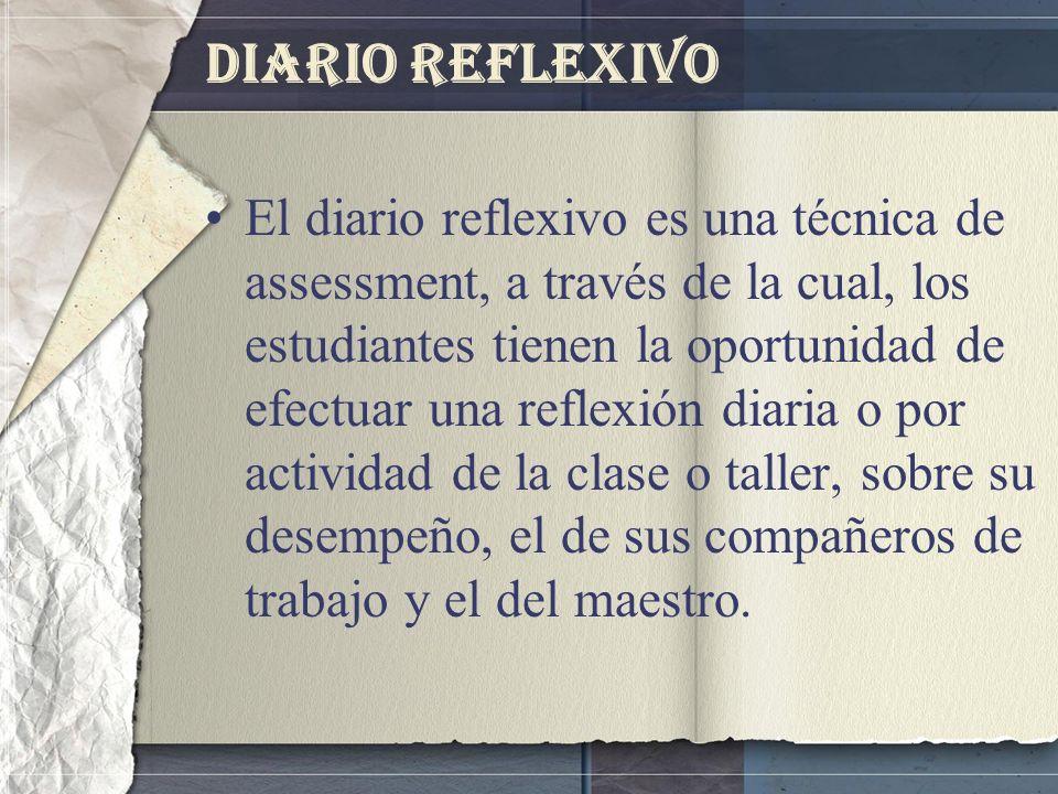 Diario Reflexivo El diario reflexivo es una técnica de assessment, a través de la cual, los estudiantes tienen la oportunidad de efectuar una reflexió