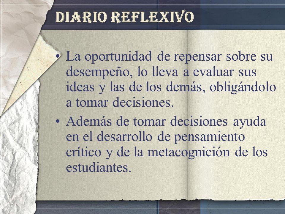 Diario Reflexivo La oportunidad de repensar sobre su desempeño, lo lleva a evaluar sus ideas y las de los demás, obligándolo a tomar decisiones. Ademá