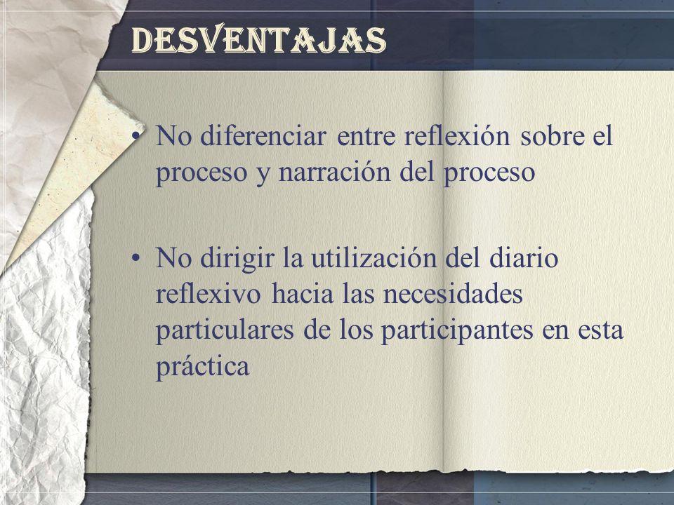Desventajas No diferenciar entre reflexión sobre el proceso y narración del proceso No dirigir la utilización del diario reflexivo hacia las necesidad